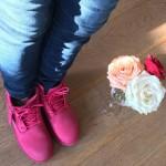 Amsterdam style! Bright pink timberland boots! amsterdam netherlands timberland