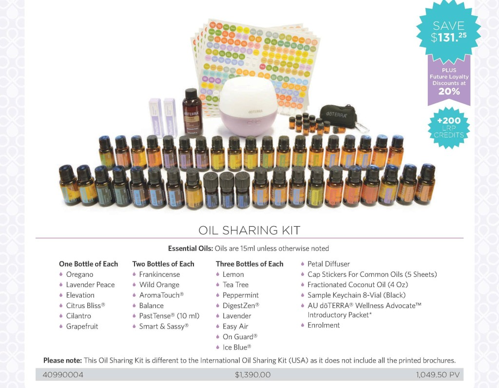 oil sharing kit inclusions